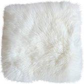 Stoelkussen schapenvacht vierkant wit - stoelzitting vacht - stoelpad schapenvacht