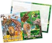 16x Safari/jungle themafeest uitnodigingen 27 cm - Kinderfeestje/verjaardag artikelen