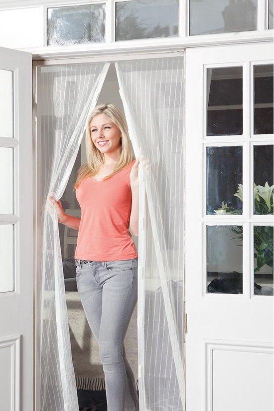 Lamellenhor voor deuren (met magneet) - 100x210 cm - Wit