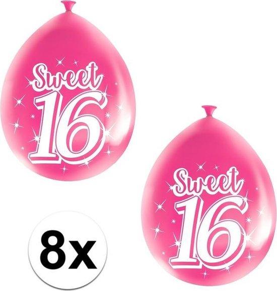8x Roze Sweet 16 verjaardag ballonnen - 16 jaar verjaardag thema ballonnen