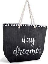 Luna Cove Day Dreamer Strandtas Shopper Canvas Jute Zwart
