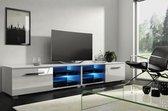TV Kast Meubel Hoogglans Wit 200 cm - Modern Design - Inclusief Led