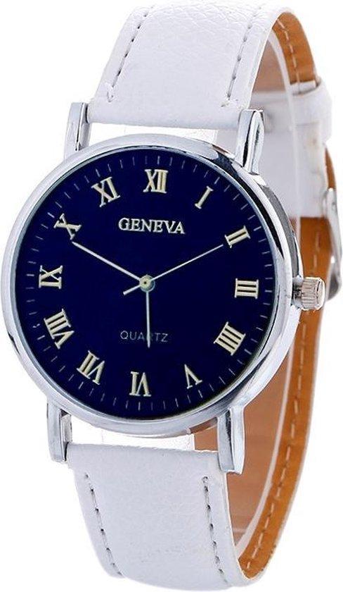 Fako® - Horloge - Geneva Blue - Wit