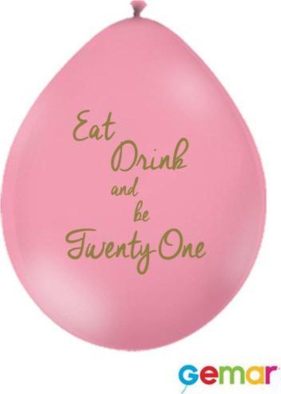 """Ballonnen """"Eat drink and be 21"""" Pink met opdruk Goud (lucht)"""
