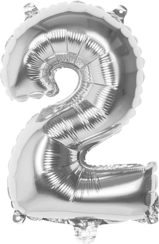 Boland Folieballon Cijfer 2 Zilver 36 Cm