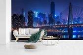 Blauwe kleuren in Chongqing in de nacht fotobehang vinyl 605x340 cm - Foto print op behang