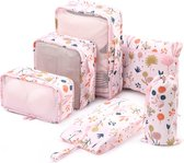 Qpacks® Flower Power Packing Cubes set 6-delig - Waterdicht - Patroon - Roze bloemen print