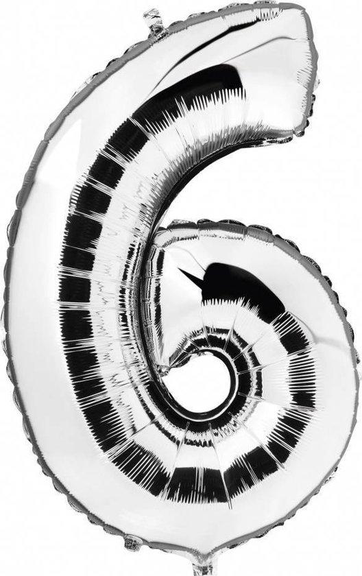 Folie Ballon Cijfer 6 Zilver - +/- 92 cm