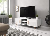 TV Kast Hoogglans Wit - Scandinavisch Design - 2 deurs - 140x42x50 cm