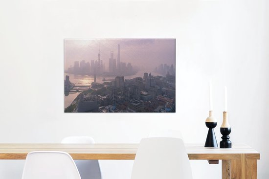 De zonsopgang boven de Bund en Shanghai in China Canvas 60x40 cm - Foto print op Canvas schilderij (Wanddecoratie woonkamer / slaapkamer)