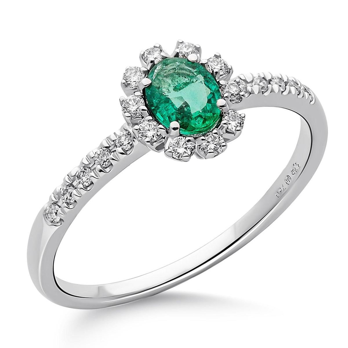 Orphelia RD-3928/EM/60 - Ring - Witgoud 18 Karaat - Diamant 0.14 ct / Smaragd 0.31 ct