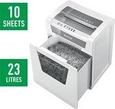 Leitz IQ Office Papiervernietiger P5 - Versnipperaar Voor Papier - Versnippert Maximaal 10 A4 Vellen Per Keer - 23 liter Opvangbak - Crosscut - Ideaal Voor Thuiskantoor
