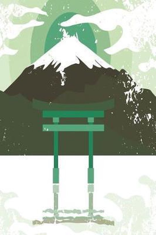 Japanese shrine with mountain in dark green