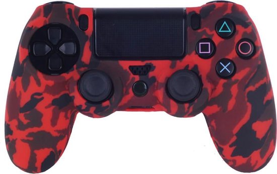 PS4 Controller Silicone Hoes Playstation 4 – Camouflage rood + 1x LED sticker