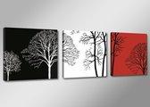 Art4-all - Canvas Schilderij Trees Black/White/Red - 150x50cm