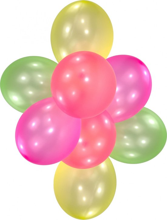Amscan Ballonnen Neon In Verschilllende Kleuren 27,5 Cm 10 Stuks