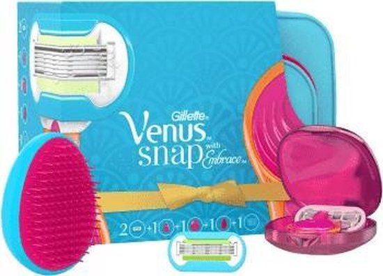 Venus Snap With Embrace-Razor 1 pc + Blade 2 pcs + Case 1 pc + Hair Comb 1 pc + Cosmetic Bag