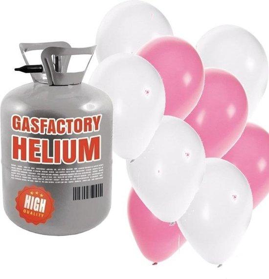 Helium tank met lichtroze en witte ballonnen - Geboorte - Heliumgas met ballonnen meisje geboren voor babyshower