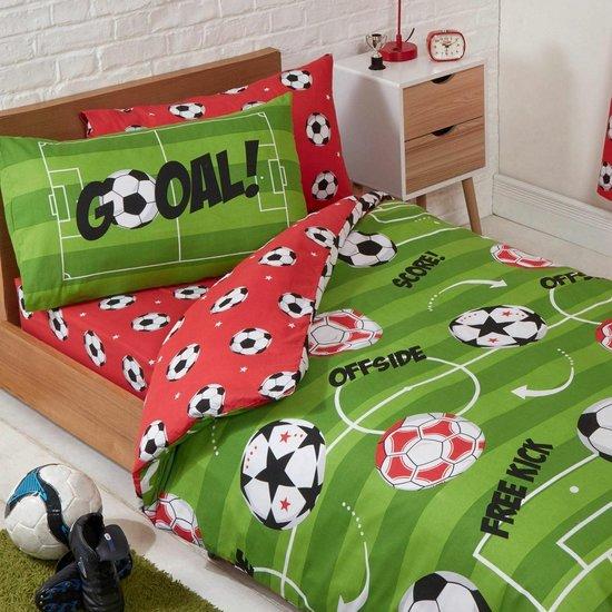 Voetbal peuterbed dekbedovertrek - 150 x 120 cm. - Voetballen juniorbed dekbed