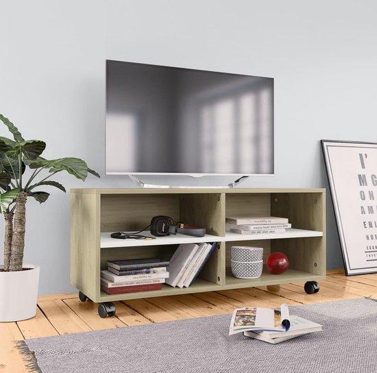Tv Meubel Zwart Op Wieltjes.Bol Com Tv Meubel Met Wieltjes 90x35x35 Cm Spaanplaat Wit En Sonoma
