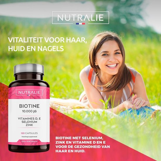 NUTRALIE Biotine 10.000 mcg | Vitamines D & E, Zink, Selenium | bevordert de haargroei, nagels en huid | 120 Vegetarische capsules