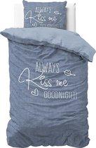 Sleeptime Always Kiss Me - Dekbedovertrek - Eenpersoons - 140x200/220 + 1 kussensloop 60x70 - Blauw