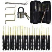 Lockpick Set Voor Beginners En Gevorderden met Luxe Lederen Hoes - Lock pick set - Lockpicker - 20 Delig - Zwart