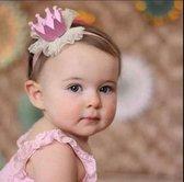 Haarband,kroon,roze,crown,kroontje,glitter