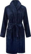 Unisex badjas fleece - sjaalkraag - donkerblauw - maat S/M