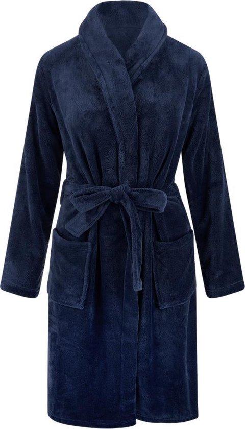 Relax company – fleece badjas – ochtendjas – sjaalkraag – heren en dames – effen kleuren – Donkerblauw S/M