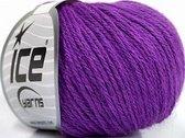 Merino wol kopen paars - mooie merinowol 50 gr bol in 19 kleuren - pendikte 4 - 5 mm. looplengte 100 meter