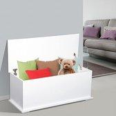 Stevige Houten Opbergkist Met Deksel - XL Speelgoedkist - Storage Box Opbergbox Kist Voor Speelgoed Kleding Dekens & Kussens Opbergen - B100 x D40 x H40cm - Wit