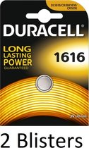 2 Stuks (2 Blisters a 1 st) Duracell Knoopcel Batterij 1616 Lithium