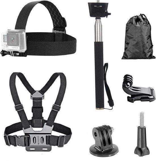 Accessoires Set voor GoPro en Action Cams – Borstharnas – Hoofdband – Stick – Mounts – Opbergzakje