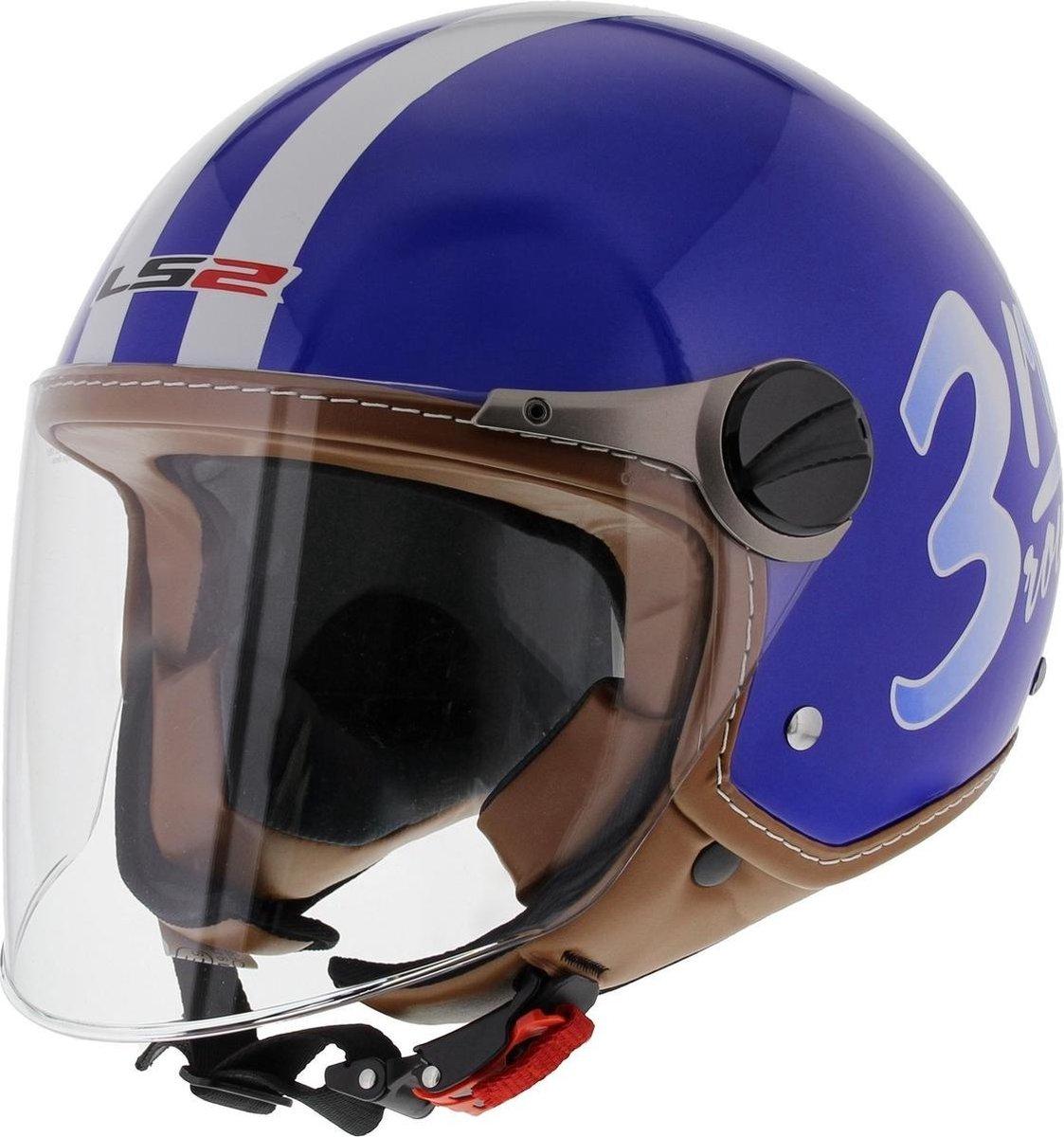 LS2 OF560 Round Jethelm - Motorhelm - Glans Blauw - Maat M
