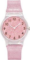 Glitter horloge - zacht roze - kinderen/ tieners - 33 mm - I-deLuxe verpakking