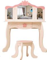 Kaptafel make up visagie tafel Prinses meisje met spiegel en krukje wit roze