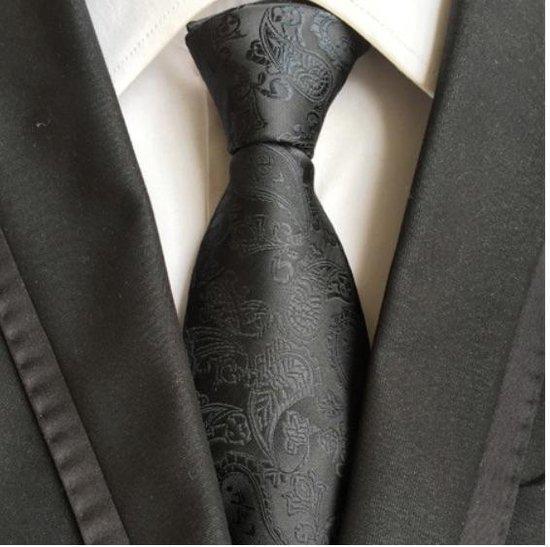 Zwarte luxe stropdas met Paisley motief