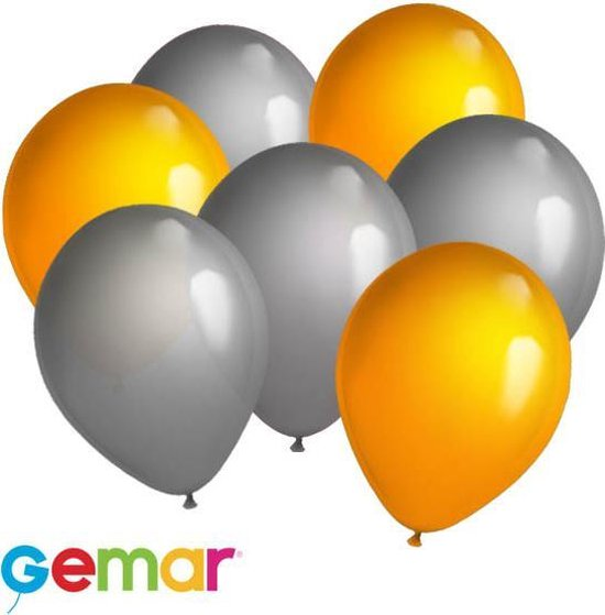 30x Ballonnen Zilver en Oranje (Ook geschikt voor Helium)