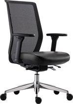 BenS 837Exe-Synchro-4 - Bureaustoel - rug Mesh - zitting leder - Zwart - Ergonomisch, Voldoet aan EN1335 & ARBO normen
