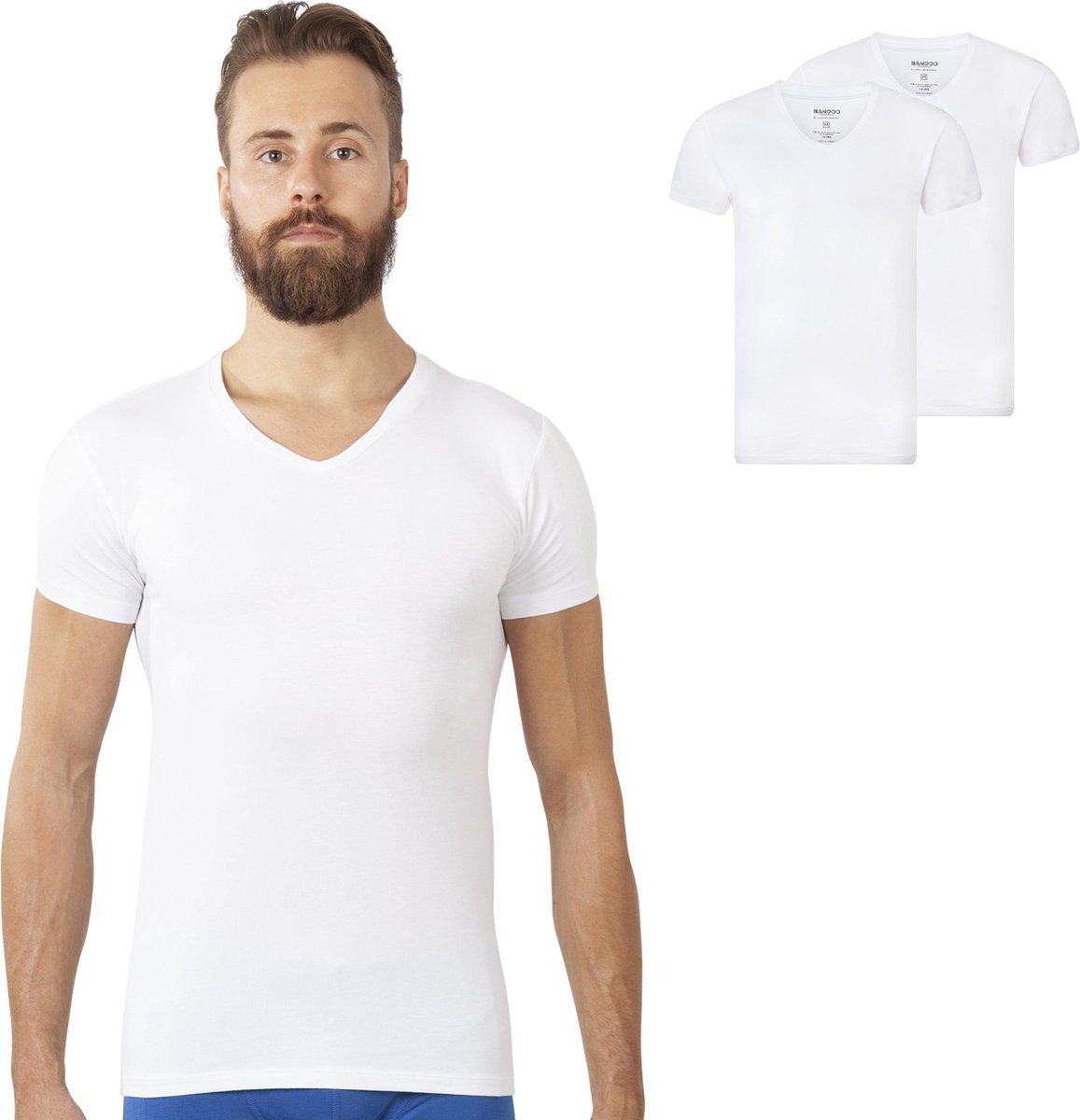 V-Hals Bandoo Underwear heren Bamboe T-shirts Finn - 2-pack - Wit - M