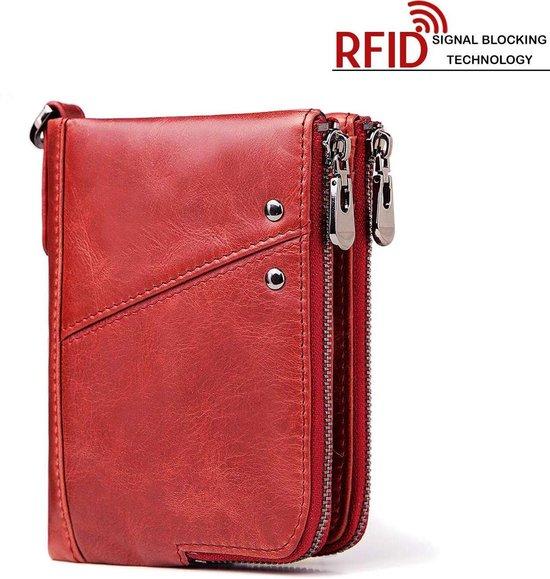 RFID Leren Dames Portemonnee met Rits Portefeuille Billfold Rood