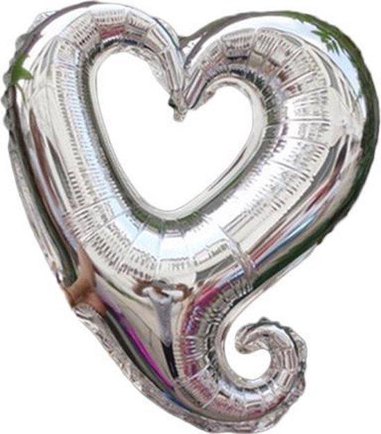 45 cm zilveren open hartvormige folie ballon van hoge kwaliteit