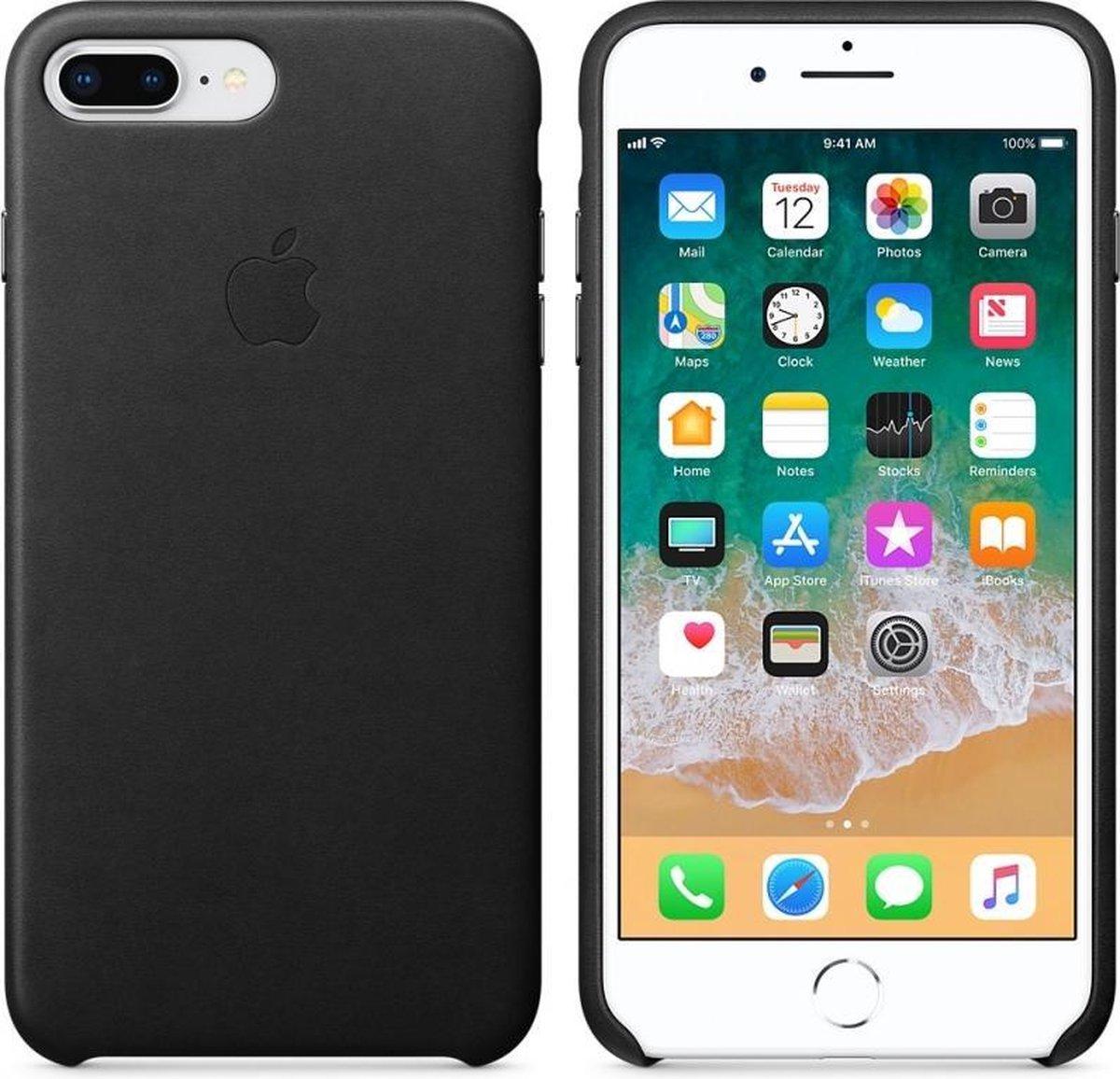 Apple lederen hoesje - zwart - voor Apple iPhone 7 Plus / 8 Plus