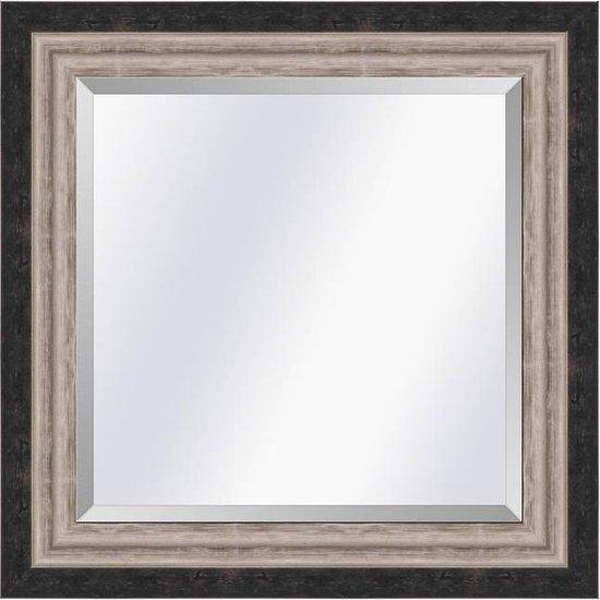Moderne spiegel Lucerne Zwart-zilver medium 52mm   Buitenmaat 61x71cm