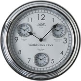 Riviera Maison World Cities Clock - Klok - Aluminium; Glas - Zilver; Wit