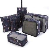 Qpacks® Tropical Treasure Packing Cubes set 6-delig - Waterdicht - Patroon - Blauw Print