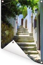 Prachtige trappen in de straten van de Oude stad van Rhodos Tuinposter 80x120 cm - Tuindoek / Buitencanvas / Schilderijen voor buiten (tuin decoratie)