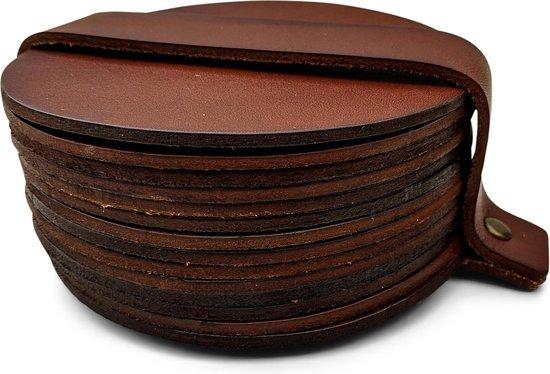 Leren Onderzetters  - Rond - 14 stuks - Cognac onderzetters - Onderzetters van leer - Ronde onderzetters - Onderzetters voor glazen