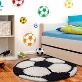Voetbal Rond Kindervloerkleed Zwart-Wit 100 X 100 CM